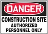 Contractor Preferred OSHA Danger Corrugated Plastic Signs: Construction Site - Authorized Personnel Only