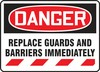 Contractor Preferred OSHA Danger Corrugated Plastic Sign: Replace Guards And Barriers Immediately